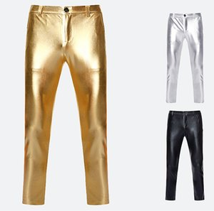 Setwelldrees Men Fashion Pants Gold Silver Black Gold Pants Party Prom Dress Singer Host Drummer Stage Costumes(One Pants)