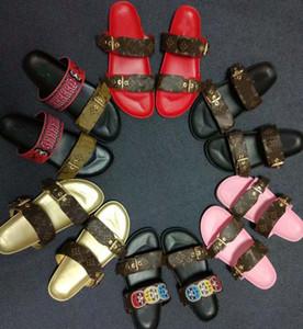Sapatos de grife Mulheres BOM DIA FLAT MULE Deslize Sandália Moda Senhora Carta de Impressão de Couro Sola De Borracha Chinelo com 35-40 com caixa L20