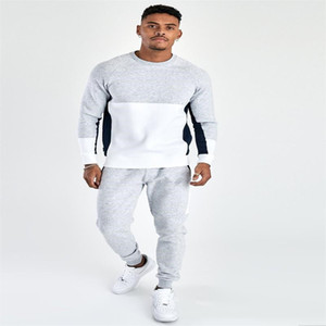 Mens Designer Tracksuits Fashion Striped Panelled Contrast Color Tracksuits Casual Long Sleeve Hoodies Top Long Pencil Pants