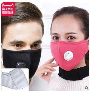 Máscara de envío libre de Fedex reutilizable lavable cara con el PM 2,5 Pad con válvulas de ventilación 100% calidad paño de algodón bueno con dos almohadillas