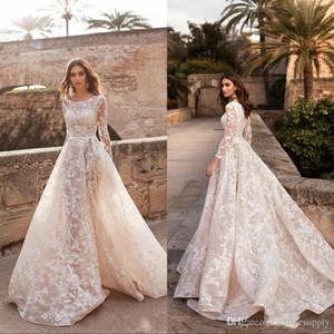 New Vintage A-Line Wedding Dresses Scoop Neck Long Sleeves Lace Appliqued Garden Bridal Gowns Customized Plus Size Vestido De Novia