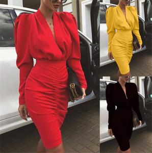 Neue Art-Frauen Designer-Kleider Art und Weise der reizvollen tiefen V-Ausschnitt reine Farben-dünne Hüfte-Kleider-Club und Party-Damenmode