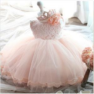 Pink White Lace новорожденный ребенок платье / Крещение Крещение платья с бальное платье Симпатичные Лук Малыши девушка первый второй день рождения партии