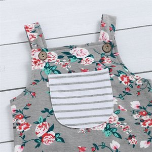 0-18M Newborn Baby Girls Flower Romper Clothes Sleeveless Pocket Jumpsuit Overalls One Piece Outfit