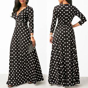 여자 물방울 무늬 긴 소매 보헤미안 드레스 우아한 빈티지 드레스 파티 V 넥 맥시 롱 드레스 패션 여성 드레스