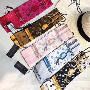 Brand new gedruckte reine Seide Schal Fliege -beutelzusätze Band Mode Luxus Männer und Frauen Stirnband Schal 120 * 8cm