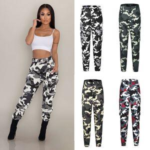 2020 5 cores Lady menina calças cargo Moda Feminina Calças Camuflagem Calças Pockets Mulheres vestuário (excluindo Sashes) M1044