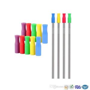Puntas de silicona de colores Cubiertas de paja de 6 mm de acero inoxidable de grado alimenticio pajas anti-deslizamiento en frío pajas cubierta