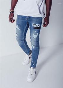 Pencil Pants With Single Patches Fashion Male Casual Washed Out Jeans Designer Mens Holes Jeans Skinny