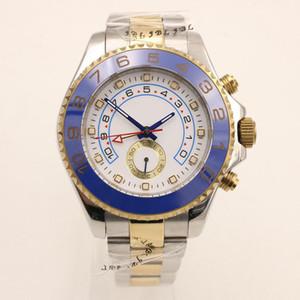 Or Automatique Luxe 44MM Jaune Mens Watch Montres cadran blanc avec Rotatif Blue Top Bague Bezel et deux tons Bracelet en acier inoxydable