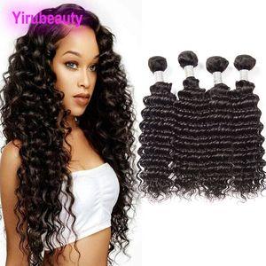 브라질 인간의 머리 4 번들 처리되지 않은 처녀 머리 확장 깊은 웨이브 곱슬 브라질 처녀 머리 8-28 인치 직조 자연 색상