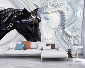 사용자 정의 사진 벽지 벽에 대 한 3d 아트 패션 벽화 블랙 화이트 두 말 양각 벽지 벽 코팅 부직포