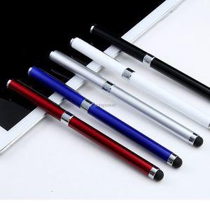 Universal 2 en 1 Stylus de la tableta Plumas pantalla capacitiva Caneta Touch pluma de la escritura de la pluma elegante móvil androide del teléfono Accesorios No Paquete