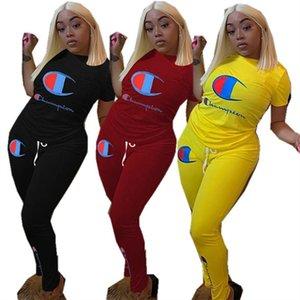 Femmes Champion T-shirt Survêtement à manches courtes T-shirt + Tops Pantalons Legging Ensemble 2 pièces Lettre Imprimer Tenues Printemps Eté Costume sport
