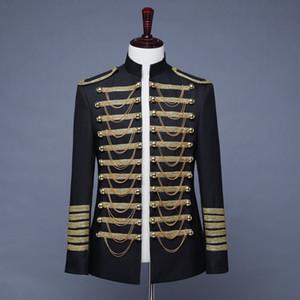 Британский стиль Prince костюм Blazer мужчины Свадебный Groom Тонкий Блейзер Hombre Ночной клуб балету Пром куртка с цепью