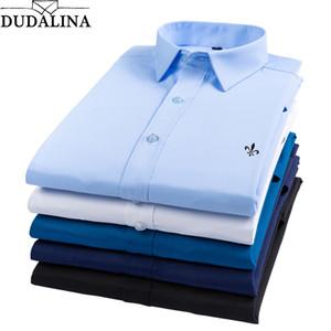 Dudalina Fibra de bambú 2019 Camisas para hombres Hombre Manga larga Sólido Slim Fit Camisa casual para hombres Negocios sociales Reserva Aramy Aleatory