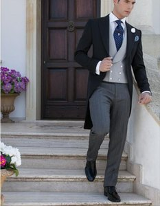 Custome Made Black Jacket Light Gray Vest Stripe Pants Swallow-Tailed Men Suits Terno Masculino Slim Fit Wedding Suits For Men