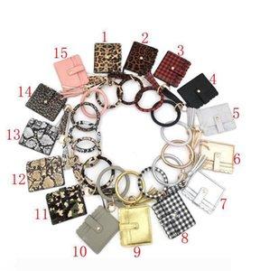 Bangle Bracelet Card Bag Wallet Keychain Wristlet Keyring Leopard Handbag Bracelet Keychain Credit Card holder Wth Tassel Favor RRA3196