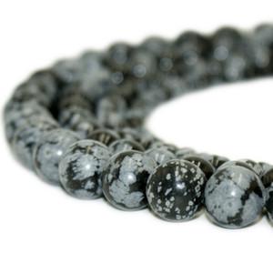 Doğal Taş Kar Tanesi Obsidian Boncuk Yuvarlak Taş Gevşek Boncuk DIY Bilezik Takı Yapımı için 1 Strand 15 Inç 4-10
