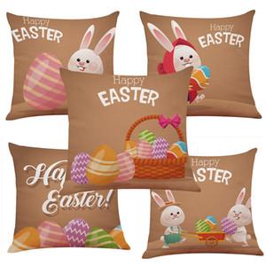 حار سعيد عيد الفصح المخدة الكرتون البوليستر الرامي أريكة غطاء وسادة وسادة غطاء وسادة الأرنب مكتب منسوجات منزلية T2I5740