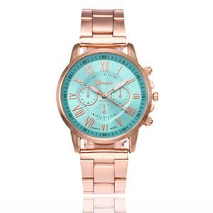 hombres al por mayor las mujeres del reloj de aleación de metal del acero inoxidable ginebra 3 ojos de cuarzo reloj deportivo Relojes Números moda casual de línea roma