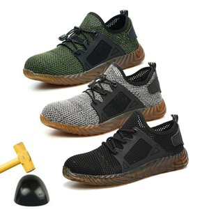 Mesh Vulcanize Shoes Men And Women Steel Toe Air Safety Boots Puncture-Proof Work Sneakers Breathable Sport Shoes