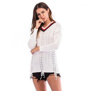 V-Ausschnitt Pullover Frühling Herbst Panelled aushöhlen Mädchen Kleidung dünne Pullover weiblich Pullover Mode Frauen