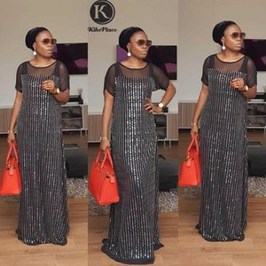 New African women's clothing Dashiki fashion party Very hot drilling and sequins long dress size L XL