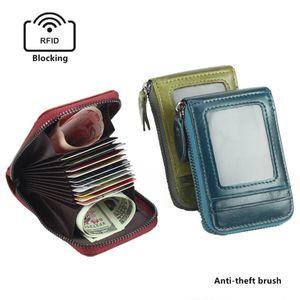 Мужская мода молния кошелек из натуральной кожи коровы Кошелек RFID Блокировка карты держатель Деньги карманные монет Чехол Mini Cowhide бумажник Подарки