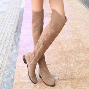Nubuck Leather Thigh High Lady Boots Buckle Strap Stylish Women Long Boots Handmade Block Heel Winter Female Plush Shoes