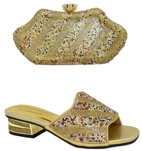 2020 Summer New Arrivals Gold Color Nigerian Ladies Shoes and Bag to Match Italian Shoes in Heels Matching Bag for Party