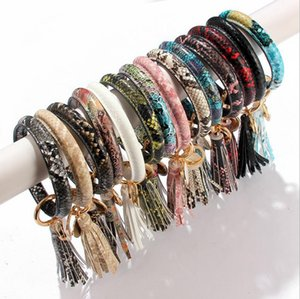 Bangle Keychain Snake Tassel Wristlet Keyring PU Leather Bracelet Key Ring Holder Fashion Women Girl Jewelry 14 Designs Optional BT5048