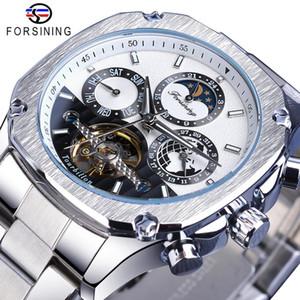 Forsining montre mécanique Men Tourbillon Moonphase Date Homme Sport automatique en acier inoxydable Montre-bracelet Reloj Hombres