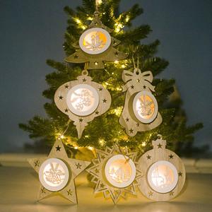 Ahşap kolye Hollow Beş Parlayan Noel Süsleri Noel ağacı Yıldız Işıklar Noel Partisi Hediye DHL WX9-1749 Sivri