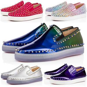 브랜드 디자이너 Red Bottom Outdoor Shoes 최고 품질 로우 컷 스웨이드 스파이크 신발 남성 여성 파티 결혼식 크리스탈 가죽 럭셔리 스포츠 스니커즈
