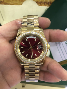 High Quality yellow gold Day-Date Red face diamond watch men automatic sapphire 18K original clasp Mechanical WristWatc