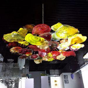Placas Mão coberta Blown Art Glass Ceiling Lighting Flor decorativa candelabro italiano luz Murano Vidro pingente lâmpadas do candelabro