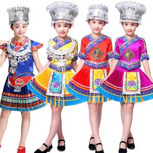Chinesischer Volkstanz-Kostüm Kinder Hmong Chinese National Traditions-Kleidung Mädchen Miao Tanz-Kostüm Bühne tragen Leistung