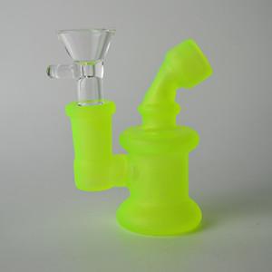 14.4mm AS arasinda Koyu Mini Bong Su Boruları 3 inç Aydınlık Oil Rig 3mm kalınlığı Taşınabilir Bubbler batırın Rig içinde Glow