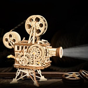 Hand Crank Projector Classic Film Vitascope 3D Wooden Puzzle Model Building Block Toys for Children Adult