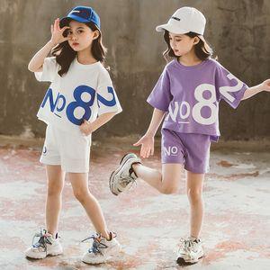 Girl's Set T-shirt and Pants Short Sleeve Children 2pcs Set 3t-12t Summer Kids Sport Suits Fashion Casual Big Children Wear