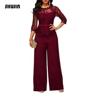 Shujin 2018 Dantel Kadınlar Için Tulumlar Sonbahar Yüksek Bel 3/4 Kollu Tek Parça Peplum Tulum Zarif Geniş Bacak Pantolon Plsu Boyutu Y19060501