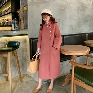 Women Wool Coat Winter New Casual Korean Fashion Full Sleeve Plus Size Female Long Coats High Quality Pink Coat