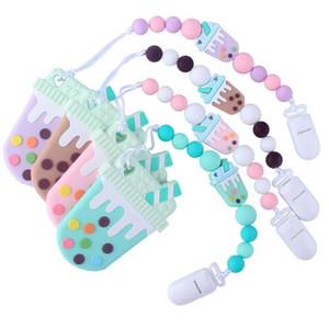 Karikatur-Silikon-Schnuller Clips Zahnen Perlen BPA frei Silikon-Schnuller Clip Schnullerhalter Baby-Beißring Anhänger Soothie Clips ZFJ887