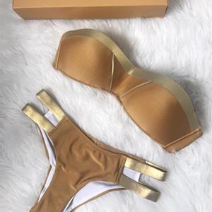 Bikini Set Seksi Yastıklı Kadın Altın Mayo Push Up Bandeau Mayo Yaz Beachwear Mayo Kadın Mayo