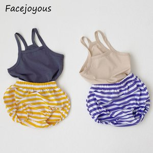 0-24M New Children's Vest Set Pure Cotton Summer Kids Baby Boy Girl Sleeveless Striped Shorts Pp Pants 2pcs Baby Clothes Set