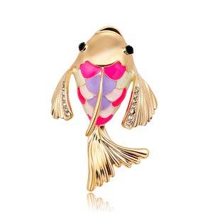 Strass moda cartoon spilla animale olio in lega di gocciolamento carpa Spilla spilla di diamanti di colore all'ingrosso
