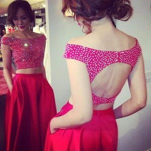 Red Long Prom Dresses 2020 Two Pieces Off Shoulder Pearls A Line Evening Dress Special Occasion Gown Robe De Soiree