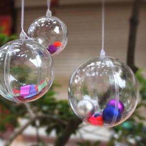 Cajas de regalo de Navidad de artesanía de plástico transparente Bola de plástico transparente Decoración de árbol de Navidad Adorno colgante 4-8CM Caja de tipo de bola