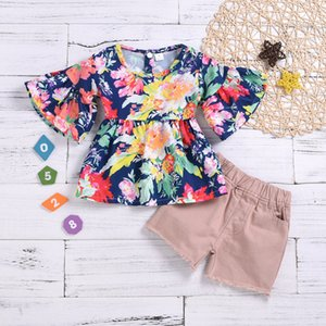 New Summer Baby Children Girls Clothes Set Kids Flowers Tops + Shorts Girl 2pcs Outfits Set 14822